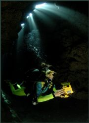 a deep dark cave dive just for the chicken man by Fiona Ayerst